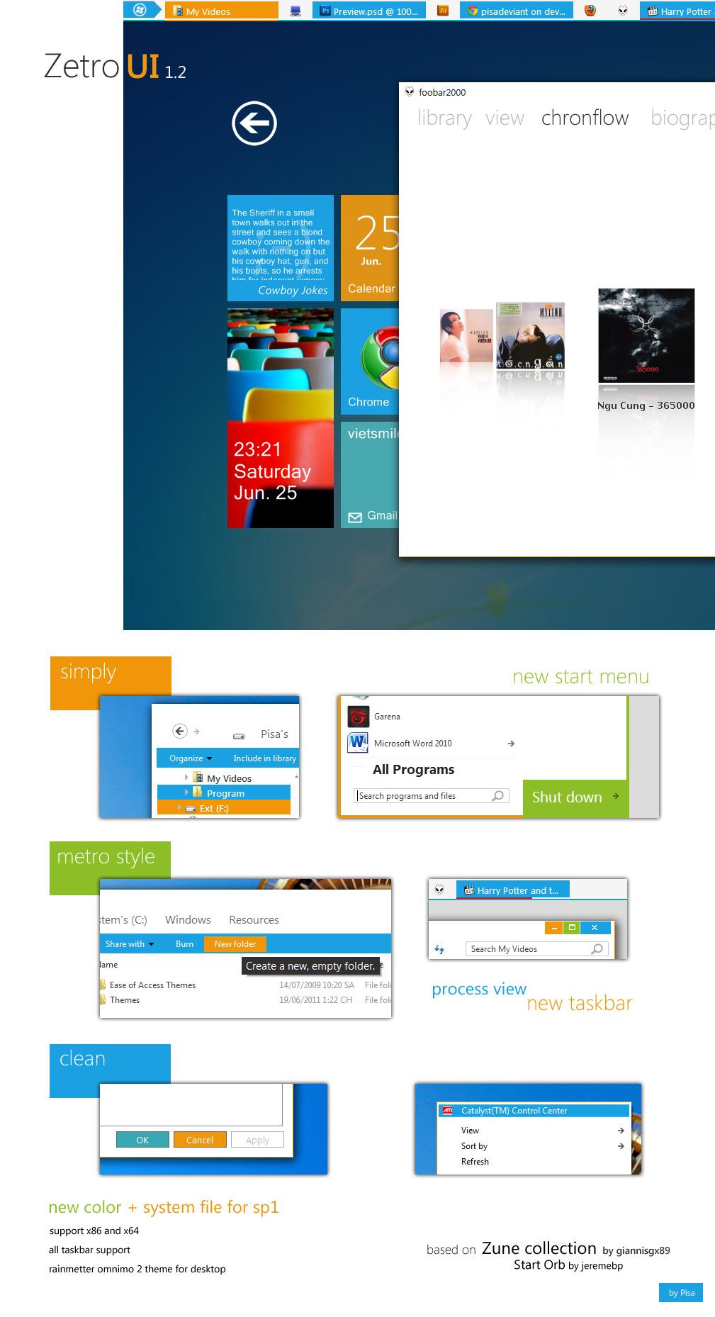 Zetro VS 1.2 — Windows 8 Metro 风格 Windows 7 主题 - 第1张  | 大博辞
