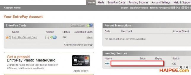 国际虚拟信用卡Entropay欧贝通申请、充值与资费宝典 - 第12张  | 大博辞